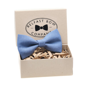 Irish Linen Dicky Bow Tie in Slate Blue by the Belfast Bow Company