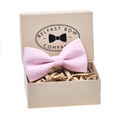 Irish Linen Bow Tie in Pastel Pink by the Belfast Bow Company