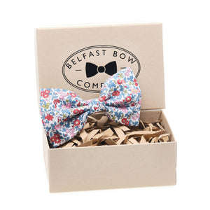 Liberty of London Dicky Bow Tie in Red and Blue Floral by the Belfast Bow Company Gift Boxed