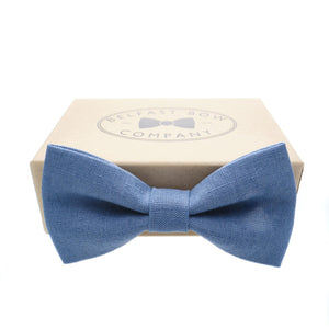 Irish Linen Bow Tie in Slate Blue by the Belfast Bow Company