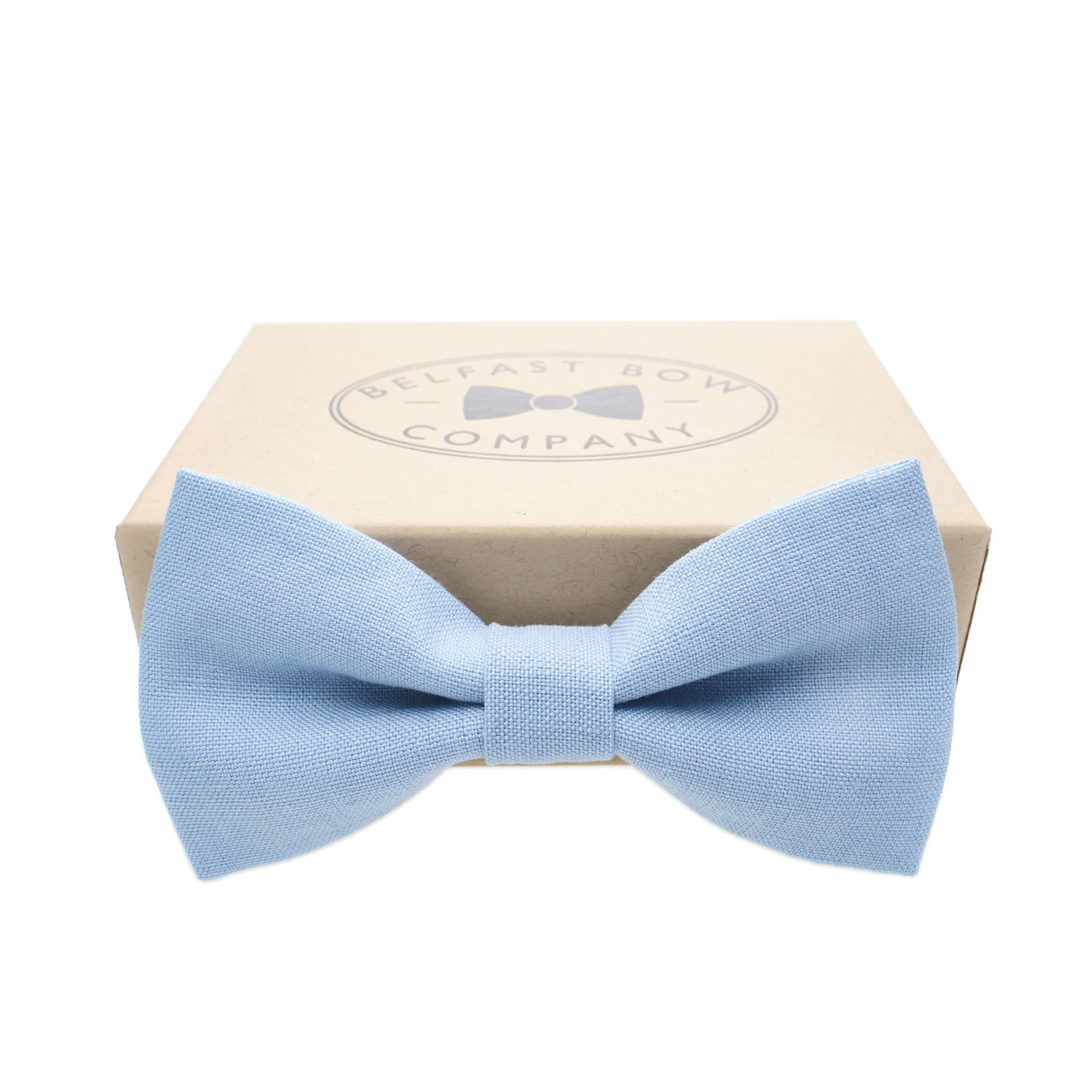 Irish Linen Bow Tie in Light Blue by the Belfast Bow Company