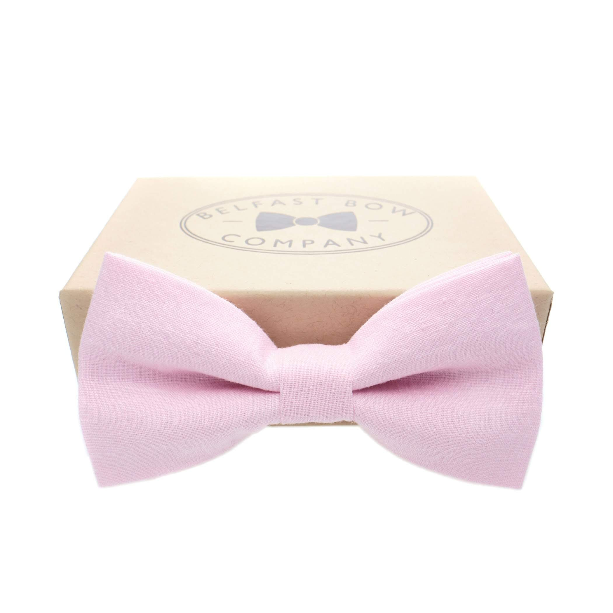 Irish Linen Bow Tie in Pink by the Belfast Bow Company