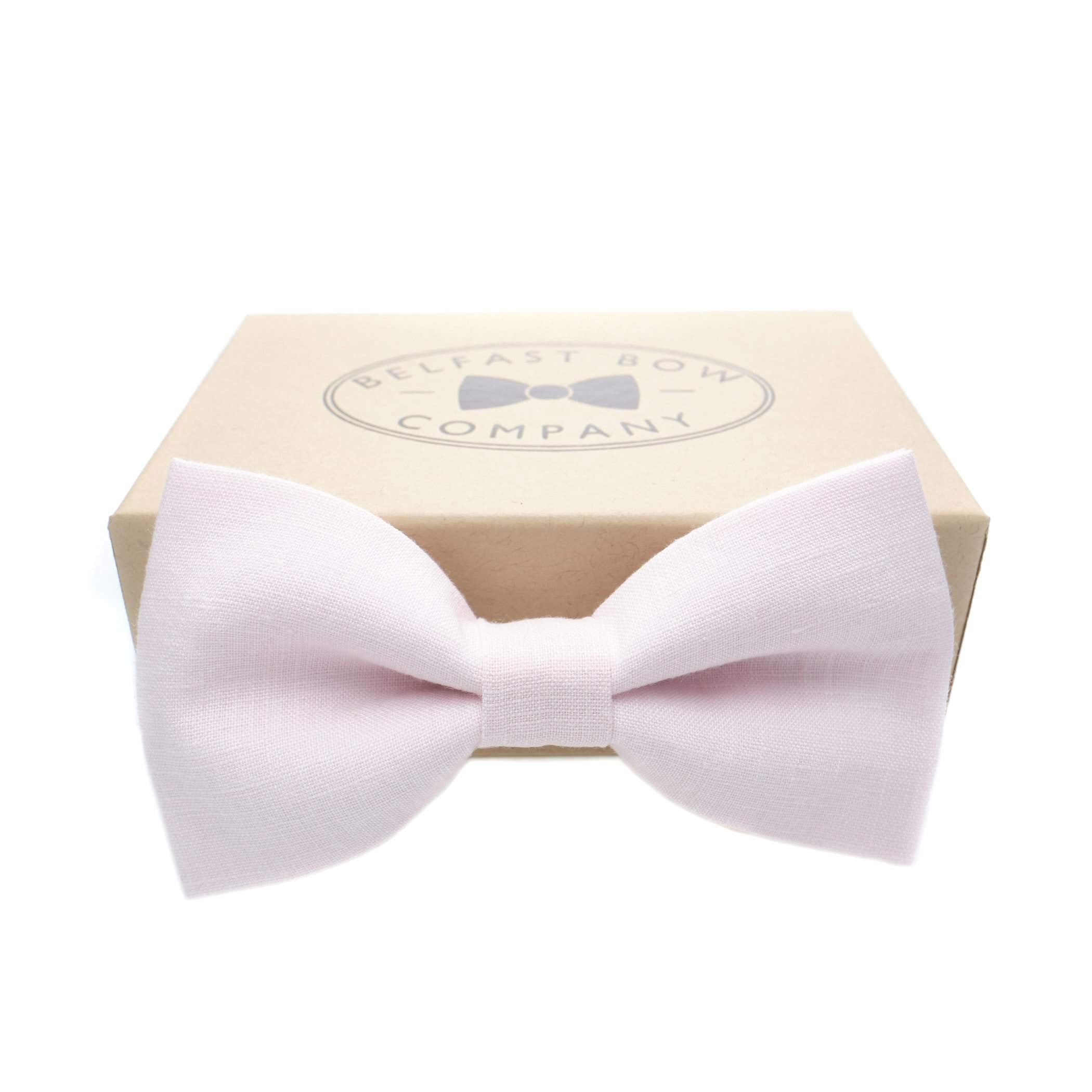 Irish Linen Bow Tie in Pale Pink by the Belfast Bow Company
