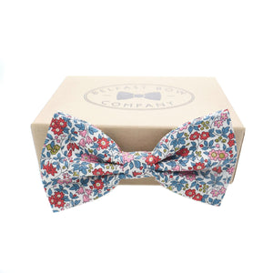 Liberty of London Bow Tie in Red and Blue Floral by the Belfast Bow Company Gift Box