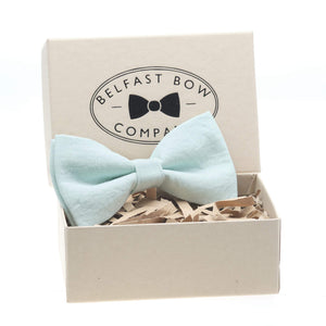 Irish Linen Dicky Bow Tie in Mint Green by the Belfast Bow Company Gift Boxed