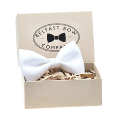 Irish Linen Dicky Bow Tie in White by the Belfast Bow Company