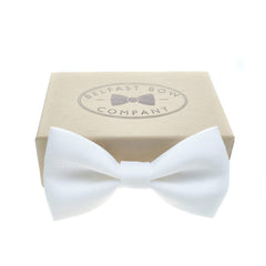 Irish Linen Bow Tie in White by the Belfast Bow Company