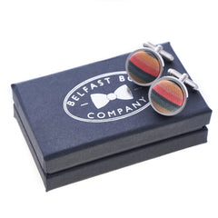 Doctor Who Cufflinks with Rainbow Stripe by the Belfast Bow Company