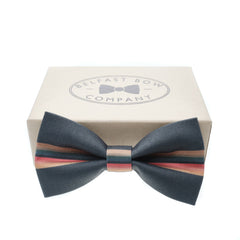 Doctor Who Bow Tie with Rainbow Stripe on Grey by the Belfast Bow Company Gift Boxed