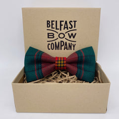 Ulster Tartan in Modern Red Bow Tie by the Belfast Bow Company