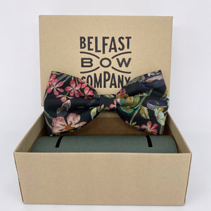 Liberty of London Dickie Bow Tie in Black vintage floral by the Belfast Bow Company