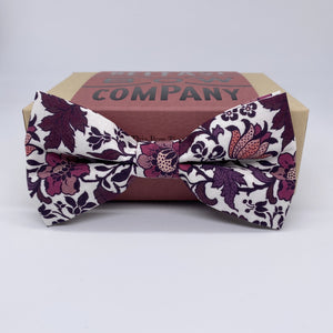 Liberty of London Bow Tie in Purple, Burgundy Pink Vintage Floral by the Belfast Bow Company