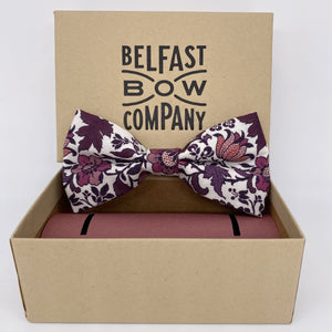 Liberty of London Dickie Bow Tie in Purple, Burgundy and pink vintage floral by the Belfast Bow Company