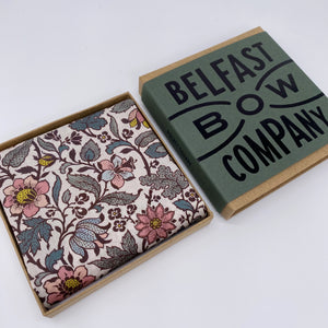 Liberty of London Pocket Square in Sage Green and Pink Vintage Floral by the Belfast Bow Company