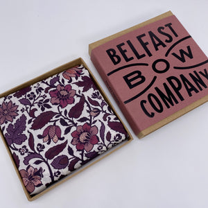 Liberty of London Pocket Square in Burgundy & Pink Vintage Floral by the Belfast Bow Company