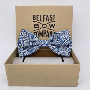 Liberty of London Dickie Bow Tie in Navy Blue Ditsy Floral by the Belfast Bow Company
