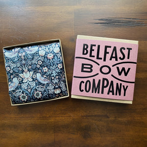 Liberty of London Silk Pocket Square in Navy Strawberry Thief by the Belfast Bow Company