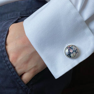 Liberty of London Silk Cufflinks in Strawberry Thief by the Belfast Bow Company