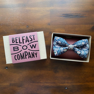 Liberty of London Silk Dicky Bow in Navy Strawberry Thief by the Belfast Bow Company