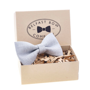 Irish Linen Dicky Bow Tie in Grey Herringbone by the Belfast Bow Company
