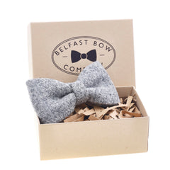 Harris Tweed Dicky Bow Tie in Grey by the Belfast Bow Company