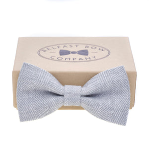 Irish Linen Bow Tie in Grey Herringbone by the Belfast Bow Company