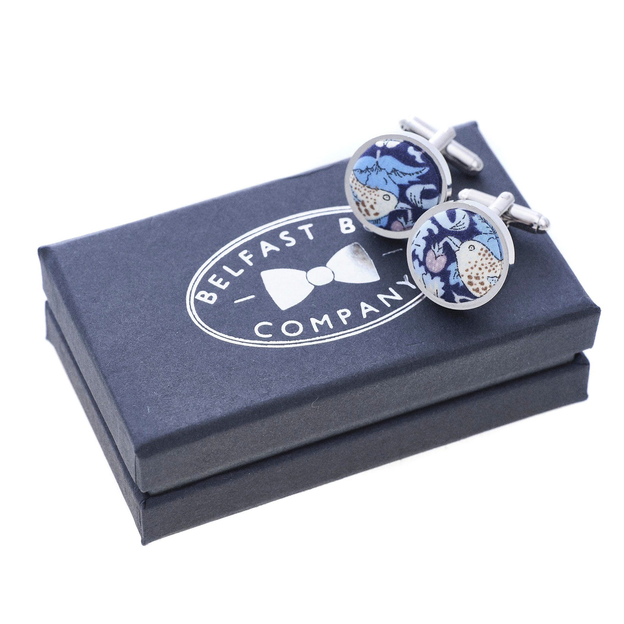Liberty of London Cufflinks in Navy Birds Stawberry Thief Print by the Belfast Bow Company
