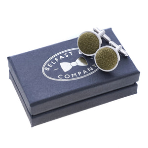 Irish Linen Cufflinks in Moss Green by the Belfast Bow Company