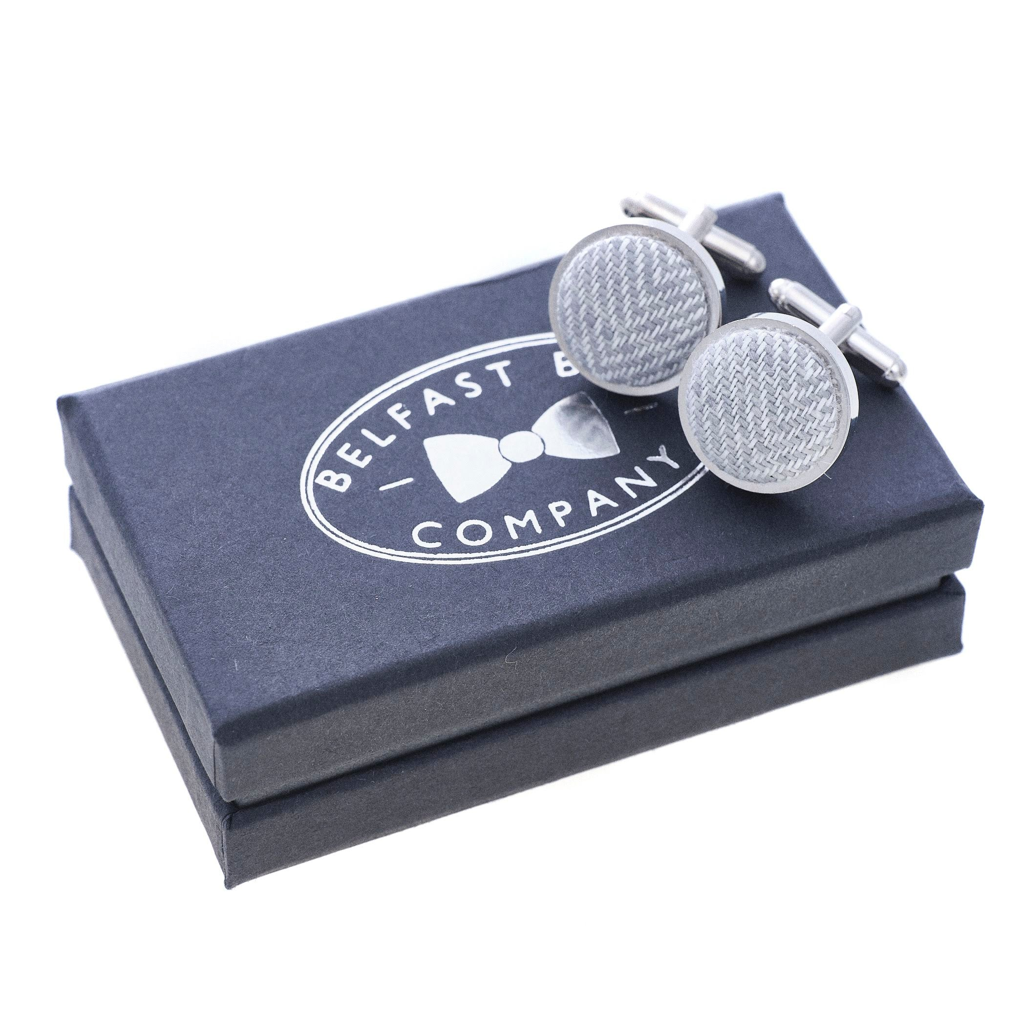Irish Linen Cufflinks in Grey Herringbone by the Belfast Bow Company