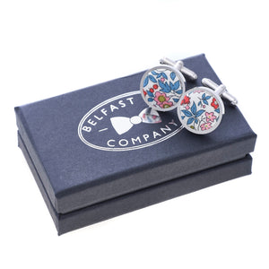 Liberty of London Cufflinks in Red and Blue Floral by the Belfast Bow Company