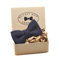 Harris Tweed Dicky Bow Tie in Navy by the Belfast Bow Company