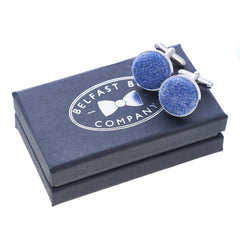 Harris Tweed Cufflinks in Slate Blue by the Belfast Bow Company