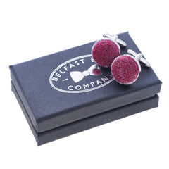 Harris Tweed Cufflinks in Raspberry by the Belfast Bow Company