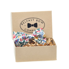 Liberty of London Dicky Bow Tie in Pink Blue Green and Mustard Floral by the Belfast Bow Company