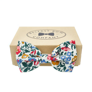 Liberty of London Bow Tie in Pink Blue Green and Mustard Floral by the Belfast Bow Company