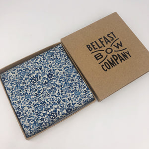 Liberty of London Pocket Square in Navy and Blue Floral by the Belfast Bow Company