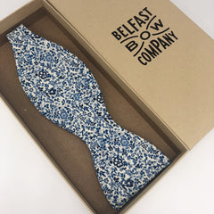 Liberty of London Self Tie Bow Tie in Navy and Blue Floral by the Belfast Bow Company