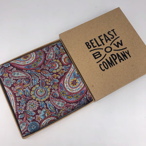 Liberty of London Pocket Square in Burgundy Paisley by the Belfast Bow Company