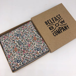 Liberty of London Pocket Square in Burnt Orange and Navy Floral by the Belfast Bow Company