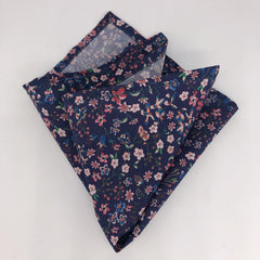 Liberty of London Pocket Square in Navy Floral by the Belfast Bow Company