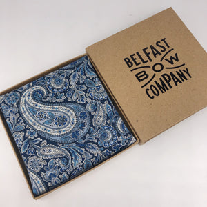 Liberty of London Pocket Square in Navy Paisley