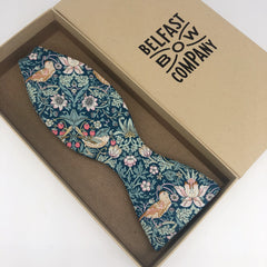 Liberty of London Self Tie Bow Tie in Green Strawberry Thief by the Belfast Bow Company