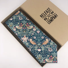 Liberty of London Tie in Green Strawberry Thief by the Belfast Bow Company