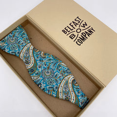 Liberty of London Self Tie Bow Tie in Teal Paisley by the Belfast Bow Company
