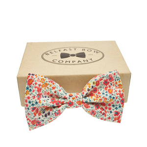 Liberty of London Dicky Bow Tie in Orange, Yellow and Navy Floral by the Belfast Bow Company