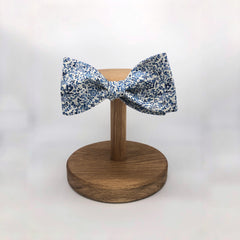 Liberty of London Self Tie Bow Tie in Navy and White Floral by the Belfast Bow Company