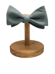 Irish Linen Self Tie Bow Tie in Dark Sage Green