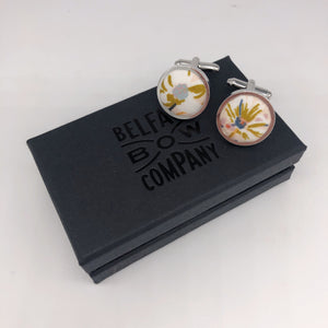 Boho Blooms Cufflinks in Blush Nude Floral by the Belfast Bow Company
