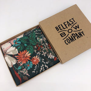 Boho Floral Pocket Square in Dark Green by the Belfast Bow Company