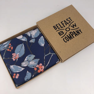 Boho Floral Pocket Square in Navy Blue by the Belfast Bow Company
